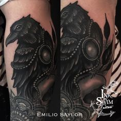 "Edgar Allan Poe ""The Raven"" Tattoo #inkorswimtattoo"