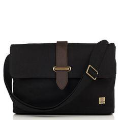 "Troon from KNOMO: Official Store | Men's Black Canvas Slim Messenger Bag | Stylish 13"" Laptop Bag | Messenger Laptop Bags | Designed by KNOMO London"