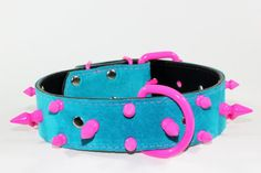 "Pink Spiked Leather Dog Collar - Teal Suede Dog Collar - Teal Suede Collar With Pink Spikes - 1.5"" Teal Leather Dog Collar by radnbadcollars, $69.95 USD"