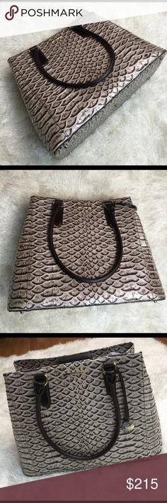 """Brahmin """"Joan tote"""" NWT Gorgeous Brahmin Joan tote, nwt. Has its dust bag. Beautiful chocolate Pearl tone. Gold hardware. Flaw free! Measures 14 x 11.5 x 6.5. Bundling is fun; check out my other items! No price talk in comments. No trades or holds. Brahmin Bags Satchels"""