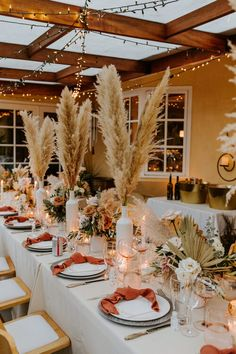 Boho backyard wedding inspo, neutral rust pink roses and pampas grass boho tablescape, pampas grass centerpieces, florals by Fleur.ish, Rancho Palos Verdes California Wedding Photography by Tida Svy Boho Wedding, Wedding Table, Wedding Set Up, Wedding Ideas, Grass Centerpiece, Bodas Boho Chic, Decoration Chic, Beautiful Wedding Venues, Pampas Grass