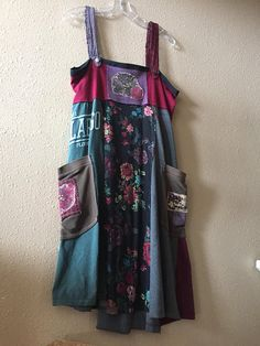Upcycled Boho Gypsy tank dress Patchwork T-shirts Casual