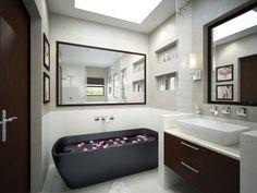 Inspiring 20 Small Bathrooms Ideas : Inspiring 20 Small Bathrooms Ideas With Black And White Wall And Big Mirror And Washbasin And Bathtub And Ceramic Floor And Wall Lamp