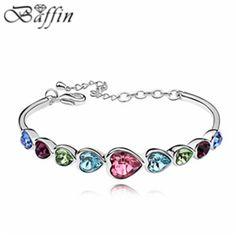 High Quality Kpop Heart Bracelet made with Swarovski Elements Crystal from Swarovski pulseira women Bijoux for Wedding