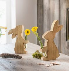 Set of 2 BUNNY with VASE brown wooden bunnies Easter decoration flower vase Easter decoration rabbits Adornos Halloween, Kitchen Ornaments, Kitchen Lighting Fixtures, Pictures To Paint, Flower Vases, Linen Bedding, Living Room Decor, Diy And Crafts, Place Card Holders