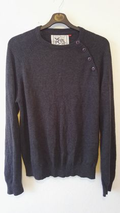FCUK Mens Knit Jumper 4 Button Charcoal Grey Cotton Wool Blend Size M