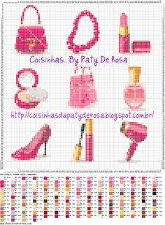 Coisinhas... By Paty De Rosa: MAKE UP, SHOES, ETC... SOMENTE PARA MULHERES!!! Tiny Cross Stitch, Cross Stitch Designs, Cross Stitch Patterns, Cross Stitching, Cross Stitch Embroidery, Minis, Stitches Makeup, Stitches Wow, Fabric Manipulation
