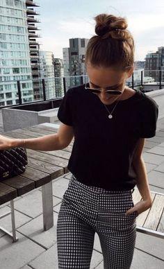 plaid pants + black top