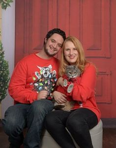 Awkward / funny family card photos with our cat wearing matching cat sweaters. See more goofy photos here: http://whimsysoul.com/holiday-card-mixbook/