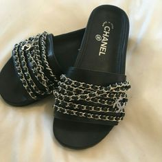CHANEL Chain Slides Women's CHANEL gain and tweed slide mules Size 4-9 available. Black with silver chains New. Serious buyers only $175 free shipping through pestle Shoes Sandals