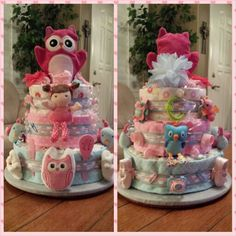 Diaper cake for baby shower / Birds/Owls/ Pink / Blue by Tina Nilsen