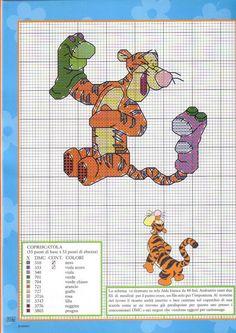 Copriscatola schema punto croce con Tigro personaggio Winnie The Pooh