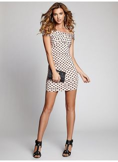 916bd30261 Off-The-Shoulder Polka-Dot Body-Con Dress in Pink  41 Lace