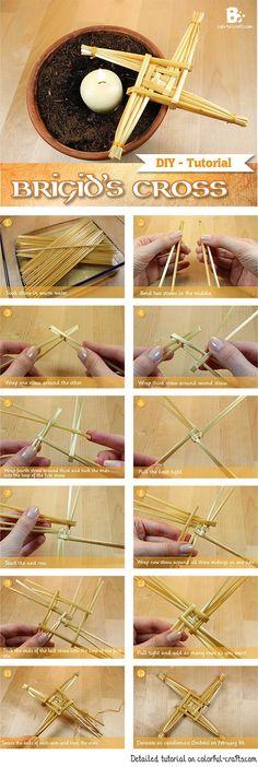 #DIY Brigid's Cross Tutorial How to make a straw cross for Imbolc #Candlemas