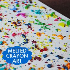 melted crayon art - great idea for left over broken crayons - I agree with the comments suggesting wax or parchment paper instead of newspaper Cute Crafts, Crafts To Do, Creative Crafts, Crafts For Kids, Arts And Crafts, Diy Crafts, Crayon Crafts, Crayon Art, Crayon Canvas