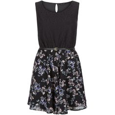 New Look Black Lace Floral Print Contrast Belted Skater Dress ($13) ❤ liked on Polyvore featuring dresses, black pattern, floral print dress, print skater dress, belted floral dress, pattern dress and lacy dress