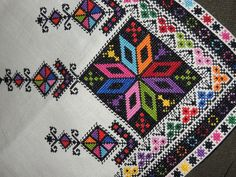 Embroidery detail from table cloth. My mother made this in 1957 from a Nasha Chata magazine pattern. Folk Embroidery, Cross Stitch Embroidery, Embroidery Patterns, Cross Stitch Borders, Cross Stitching, Cross Stitch Patterns, Needlepoint Stitches, Needlework, Palestinian Embroidery
