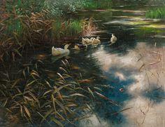 Öl auf Leinwand 61,5 x 80 cm Schätzpreis: 20000 - 40000 € Modern Art, Contemporary Art, Oil On Canvas, 19th Century, Art Nouveau, Auction, Antiques, Ducks, Artwork