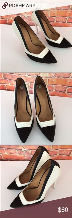 "L.A.M.B White Black stilettos 👠 Heels Size 7.5 Gorgeous L.A.M.B White Black Stilettos 👠 Please see last picture for more information. The Heel Leigh 4""-5"" L.A.M.B. Shoes Heels"