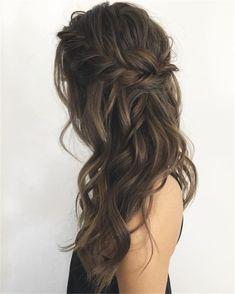25 Glamorous Wedding Hair Half Up Half Down Hairstyles - Hair Trends 2019 - Wedding Hairstyles Romantic Hairstyles, Bride Hairstyles, Down Hairstyles, Easy Hairstyles, Hairstyle Ideas, Bridal Party Hairstyles, Loose Wave Hairstyles, Wedding Guest Hairstyles Long, Glamorous Hairstyles