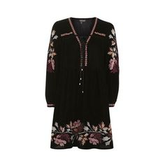 Topshop Velvet Floral Smock Dress (1,700 MXN) ❤ liked on Polyvore featuring dresses, black, embroidery dresses, smock dress, long-sleeve floral dresses, boho chic dresses and velvet dress