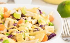 Thai Curry Pasta Salad is a complete balanced vegan meal with the combination of Thai and pasta along with lots of fiber that you cant stop loving it. Curry Pasta Salad, Pasta Salad Recipes, Noodle Recipes, Vegan Recipes, Cooking Recipes, Vegan Meals, Delicious Recipes, Free Recipes, Vegan Pasta