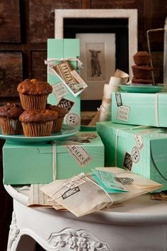 mint green box packaging for these muffins? Love the mix of baking and travel with the sticker applications