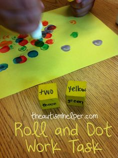 Counting - Roll and Dot (also comprehension, multi-step task following, colours, reading - sight words, etc)