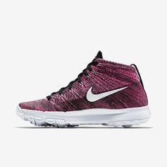 newest 3ddcf 0832a Chaussure de golf Nike Flyknit Chukka pas cher pour Femme Rose framboise  Noir Blanc