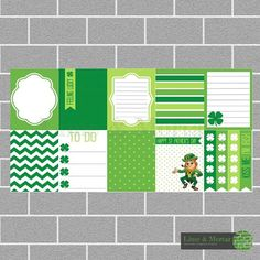 PLANNER SQUARE STICKERS - ST PATRICKS PACK INCLUDES: 9 squares and 4 checklists