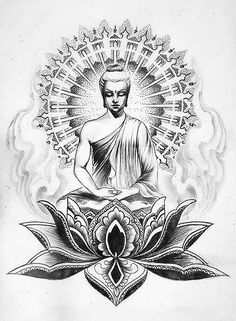 If you're planning to get a Buddha tattoo design, you've come to the best place. We have the best & most beautiful Buddha tattoos for inspiration. Buda Tattoo, Buddha Tattoo Design, Buddha Kunst, Buddha Art, Buddha Drawing, Buddha Painting, Body Art Tattoos, New Tattoos, Sleeve Tattoos