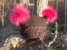 Hand felted hat decorated with fox pompons Size 56-57