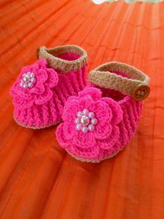 crochet baby sandalscrochet baby shoesbaby girl por MrsWalshshop