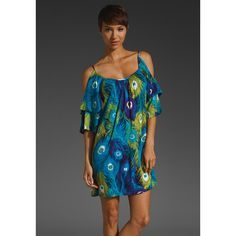 VOOM by Joy Han Peacock Open Shoulder Dress found on Polyvore