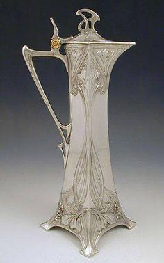 Оловянный кувшин для кларета от WMF, 1906 год / Art Nouveau Pewter Claret Jug by WMF 1906