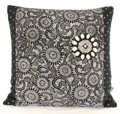 Luxury Oriental Limited Edition Decorative Pillow Cushion made from Black, Grey & White un used Vintage Japanese Kimono Silk New A/W16 by BeccaCadburyDesign on Etsy