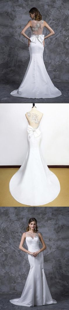 2020 Prom Dresses Mermaid White Satin With P1M566SD, This dress could be custom made, there are no extra cost to do custom size and color Elastic Satin, Mermaid Evening Dresses, Spring Festival, White Satin, Special Occasion Dresses, Homecoming, Tulle, Wedding Dresses, Color