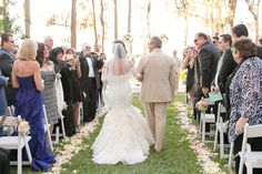 Bride with father walking down the aisle  | Amy and Mikes Lakeside wedding | www.AmalieOrrangePhotography.com