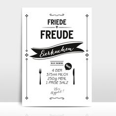 "Typo Print ""Eierkuchen"", Rezept / typo recipe poster, pancakes by Amy-and-Kurt via DaWanda.com"