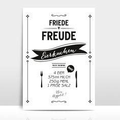 """Originaldruck - A4 Typo Print """"Eierkuchen"""" - ein Designerstück von Amy-and-Kurt bei DaWanda"""
