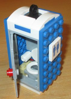Lego City Town Minifig Blue TOILET Boy Girl Bathroom Commode on White Base NEW