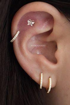 Sweet Simple Butterfly Cartilage Helix Ear Piercing Jewelry Ideas For Women . - Sweet Simple Butterfly Cartilage Helix Ear Piercing Jewelry Ideas for Women for Teen Girls – Gret - Ear Piercings Industrial, Unique Ear Piercings, Ear Piercings Chart, Ear Peircings, Ear Piercings Cartilage, Multiple Ear Piercings, Cartilage Earrings, Stud Earrings, Double Cartilage