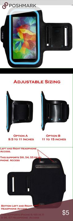Running & Exercise Armband -Compatible with the Samsung S5 S4 S3,iPhone 6 (4.7) and HTC One phones -Fits sizes from 9 to 15 inches. Not for body builders or those with biceps over 15 inches. -Nylon, Velcro and Neoprene Other