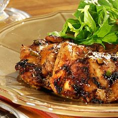 Jamaican-Spiced Chicken Thighs Recipe Main Dishes with purple onion, sugar, jalapeno chilies, cider vinegar, low sodium soy sauce, salt, ground allspice, dried thyme, black pepper, ground red pepper, boneless chicken skinless thigh, cooking spray