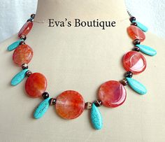 Large statement necklace with teardrop shaped blue by evarugina, €19.00