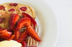 Walnut and raspberry pancakes with macerated strawberries and mascarpone cream recipe, Bite – visit Eat Well for New Zealand recipes using local ingredients - Eat Well (formerly Bite) Mascarpone Cream Recipe, Raspberry Pancakes, Non Stick Pan, Creme Fraiche, Lemon Lime, Sour Cream, Festive, Strawberry