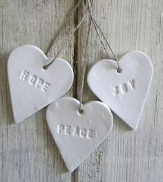 Peace Joy and Hope set of 3 white clay Christmas tree by TheNestUK, $8.00