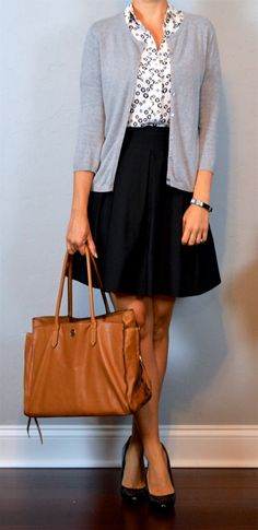 outfit post: dandelion short sleeved utility blouse, grey cardigan, black a-line skirt http://outfitposts.com/2016/09/outfit-post-dandelion-short-sleeved-utility-blouse-grey-cardigan-black-a-line-skirt.html?utm_campaign=coschedule&utm_source=pinterest&utm_medium=Outfit%20Posts&utm_content=outfit%20post%3A%20dandelion%20short%20sleeved%20utility%20blouse%2C%20grey%20cardigan%2C%20black%20a-line%20skirt