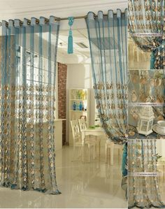 Teal sheer curtain with decoration can decorate your room. The color and patterns make this sheer curtain just like a peacock. The patterns have good tactile impression and are vivid because of the technology of embroidery. Silver Curtains, Teal Curtains, Crystal Curtains, Home Curtains, Beaded Curtains, Patterned Curtains, Morrocan Curtains, Traditional Window Treatments, Doorway Curtain