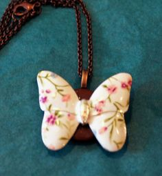 Traditional Ceramic Butterfly on wooden Disc by GrayStormCreations, $15.00